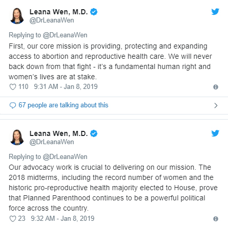 Image: Leana Wen Planned Parenthood prez confirms core mission is abortion (Image: Twitter)