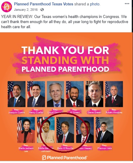 Image: BETO called Champion by Planned Parenthood
