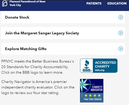 Planned Parenthood Margaret Sanger Legacy Society